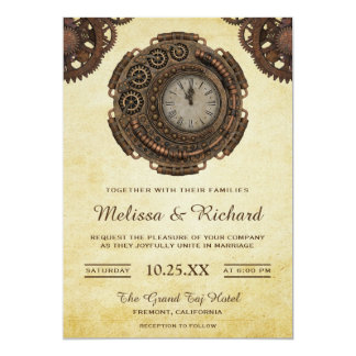 Vintage Rustic Antique Clock Steampunk Wedding Invitation