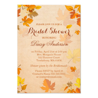 Vintage Rustic Autumn Leaves Wedding Bridal Shower Card