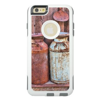 Vintage Rustic Barn Wood and Rusty Milk Cans OtterBox iPhone 6/6s Plus Case