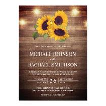 Vintage Rustic Barn Wood Lights Sunflower Wedding Invitation