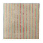 Vintage Rustic Beach Summer Stripes Small Square Tile