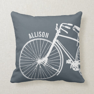 Vintage Rustic Bicycle + Any Color Personalized Throw Pillow