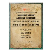 Vintage Rustic Bicycle Wedding Invitations