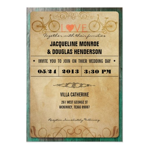 Vintage Rustic Bicycle Wedding Invitations