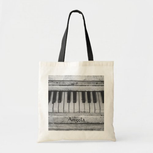 Vintage Rustic Black and White Piano Keyboard Keys Tote Bag