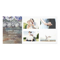 Vintage Rustic Blue Floral Wedding Thank You Card