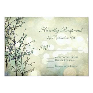 "Vintage Rustic Bokeh Blossoms Wedding RSVP Cards 3.5"" X 5"" Invitation Card"