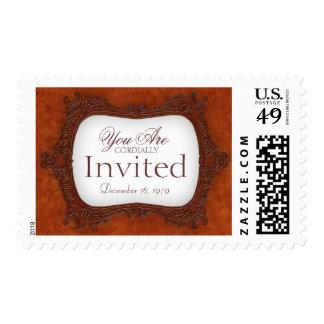 Vintage rustic brown invitation Wedding Postage