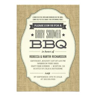 Vintage Rustic Burlap BBQ Baby Shower Invitations Custom Invitations