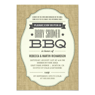 Vintage Rustic Burlap BBQ Baby Shower Invitations