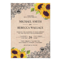 Vintage Rustic Burlap Black Lace Sunflower Wedding Invitation