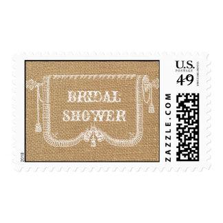 Vintage Rustic Burlap Bridal Shower Postage Stamp
