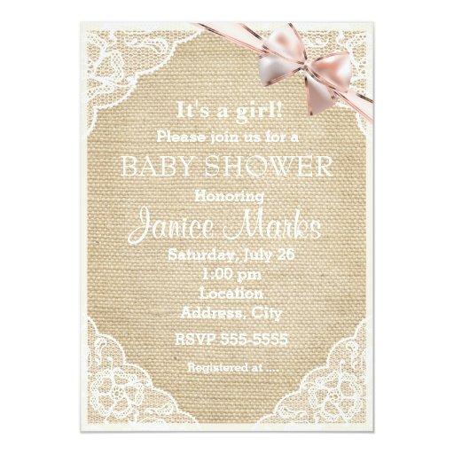 vintage rustic burlap lace baby shower invitation zazzle