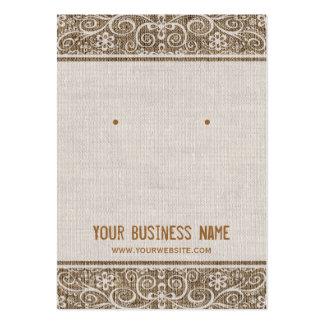 Vintage Rustic Burlap Lace Earring Cards
