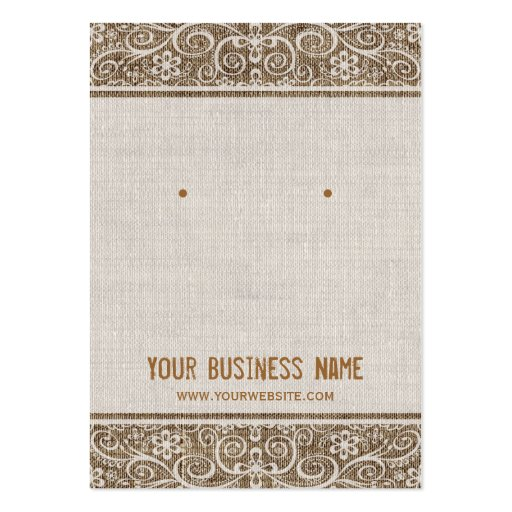 Vintage Rustic Burlap Lace Earring Cards Business Card Templates