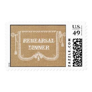 Vintage Rustic Burlap Wedding Rehearsal Dinner Postage Stamp