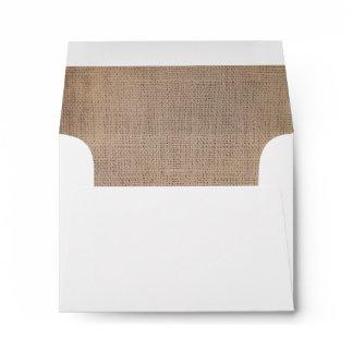 Vintage Rustic Burlap Wedding RSVP Envelope