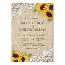 Vintage Rustic Burlap White Lace Sunflower Wedding Invitation