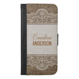 Vintage Rustic Burlap with Beautiful Floral Lace iPhone 6/6s Plus Wallet Case