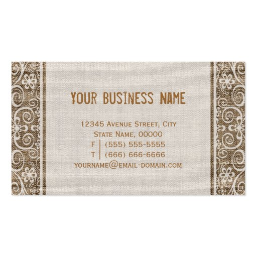 Vintage Rustic Burlap with Floral Lace Business Card Template (back side)