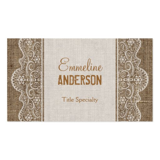 Vintage Rustic Burlap with Floral Lace Business Card Template (front side)
