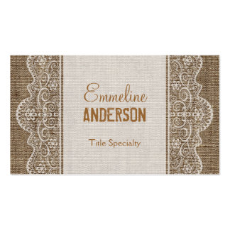 Vintage Rustic Burlap with Floral Lace Double-Sided Standard Business Cards (Pack Of 100)