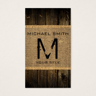 Vintage Rustic Burlap Wood Look Monogram #2 Business Card