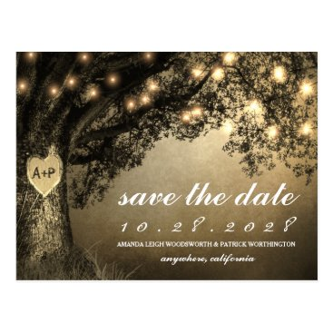 rusticweddings Vintage Rustic Carved Oak Tree Save The Date Cards