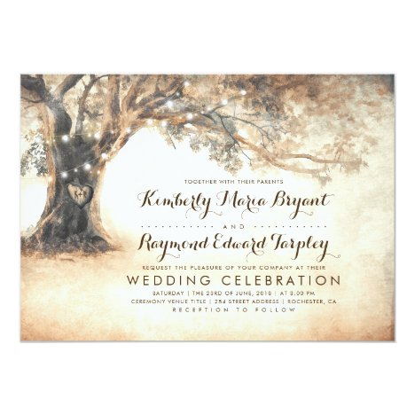Vintage Rustic Carved Oak Tree Wedding Invitation