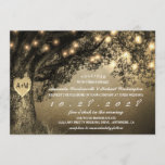 """Vintage Rustic Carved Oak Tree Wedding Invitations<br><div class=""""desc"""">Vintage Rustic Carved Oak Tree Wedding Invitations - features a gorgeous oak tree over a vintage distressed background with string lights.  You can """"carve"""" the heart to the initials of your choice.  See the entire matching design collection on this page.</div>"""