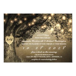 Vintage Rustic Carved Oak Tree Wedding Invitations at Zazzle