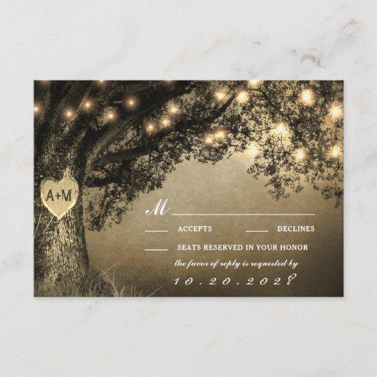 Vintage Rustic Carved Oak Tree Wedding RSVP Cards