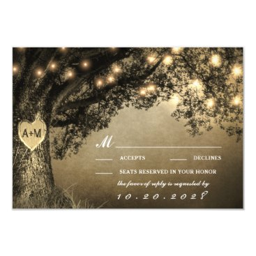 RusticWeddings Vintage Rustic Carved Oak Tree Wedding RSVP Cards