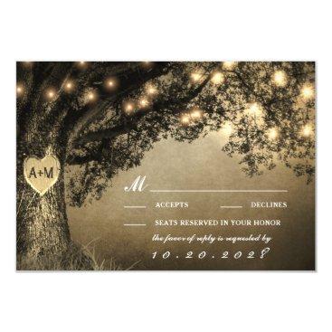 Valentines Themed Vintage Rustic Carved Oak Tree Wedding RSVP Cards