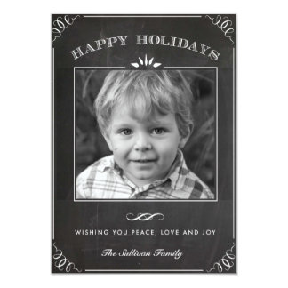 Vintage Rustic Chalkboard Holiday Photo Card Announcements