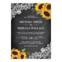 Vintage Rustic Chalkboard Lace Sunflower Wedding Invitation