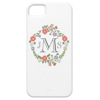 Vintage rustic chic wedding monogram initial flora iPhone 5 cases