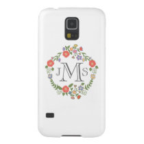 Vintage rustic chic wedding monogram initial flora case for galaxy s5