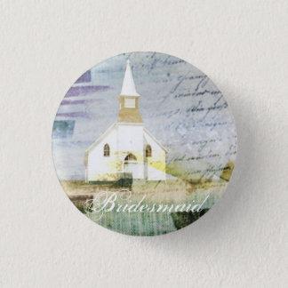 vintage rustic country chapel wedding bridesmaid button