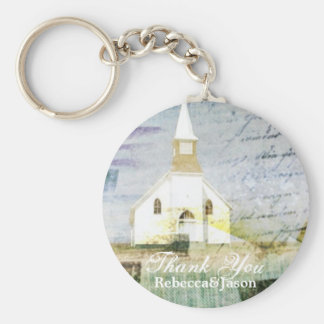 vintage rustic country chapel wedding favor basic round button keychain