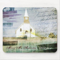 vintage rustic country chapel wedding mouse pad