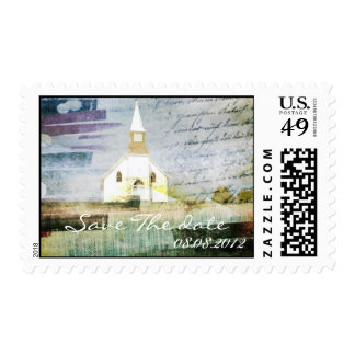 vintage rustic country chapel wedding postage