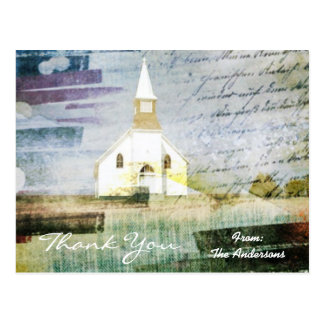 vintage rustic country chapel wedding thank you postcard