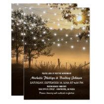 Vintage Rustic Country Lights Wedding Invitation