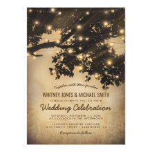 Vintage Rustic Country Tree Lights Wedding