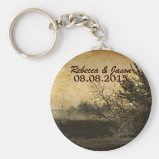 vintage rustic country wedding save the date keychain