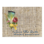 vintage rustic country wedding save the date post card