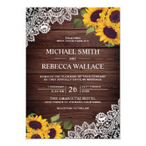 Vintage Rustic Country Wood Lace Sunflower Wedding Invitation