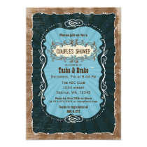 vintage rustic Couples Baby Shower Invites