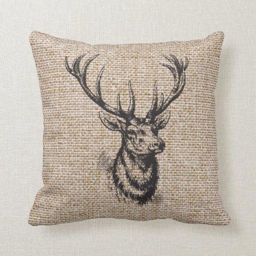Vintage Rustic Deer Antlers On Faux Burlap Throw Pillow